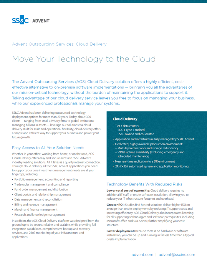 poster image for <p>Advent Outsourcing Services: Cloud Delivery</p>