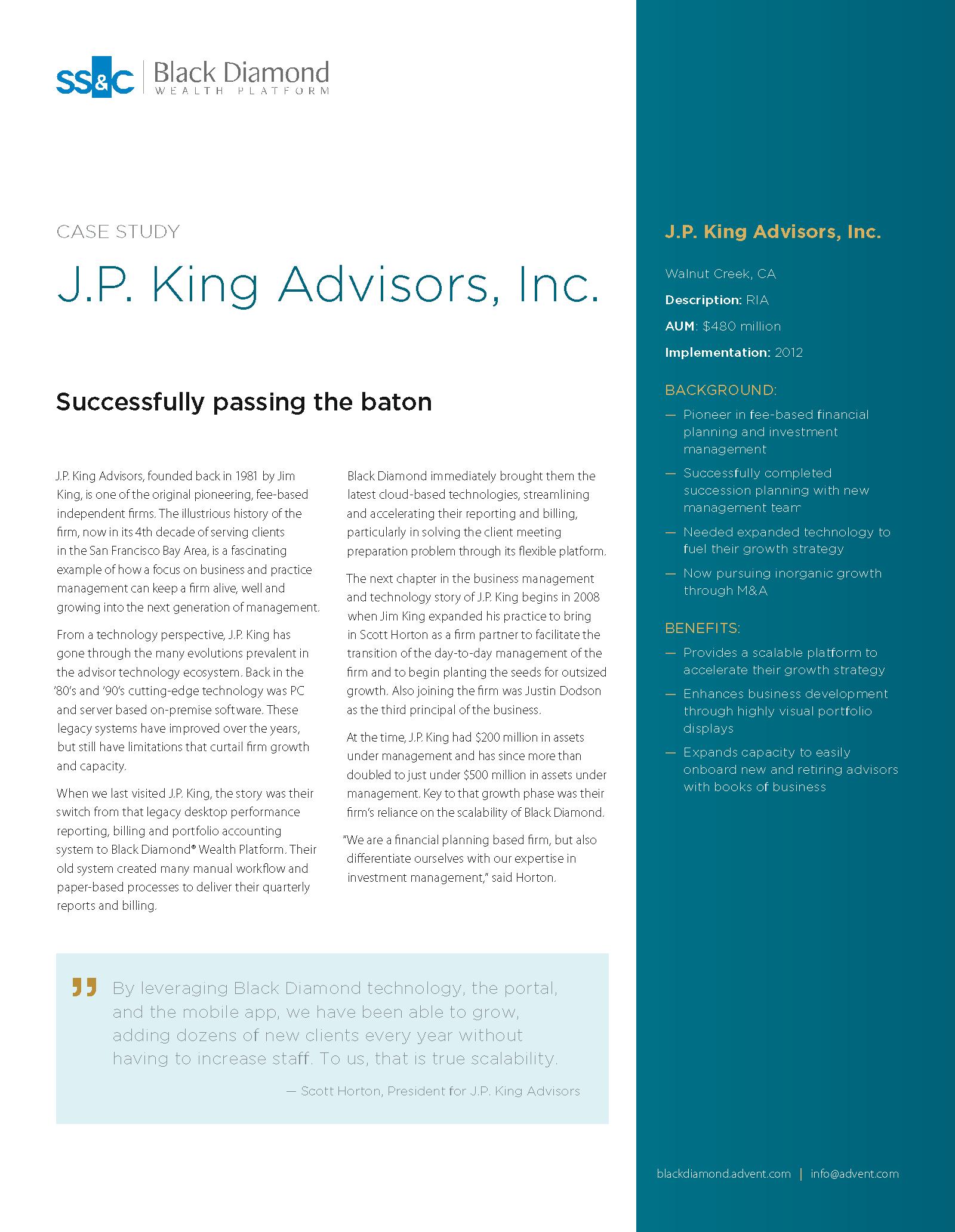 poster image for <p>J.P. King Advisors, Inc.</p>