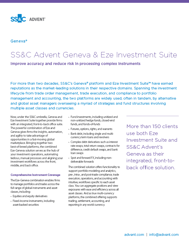 poster image for <p>SS&C Advent Geneva & Eze Investment Suite</p>