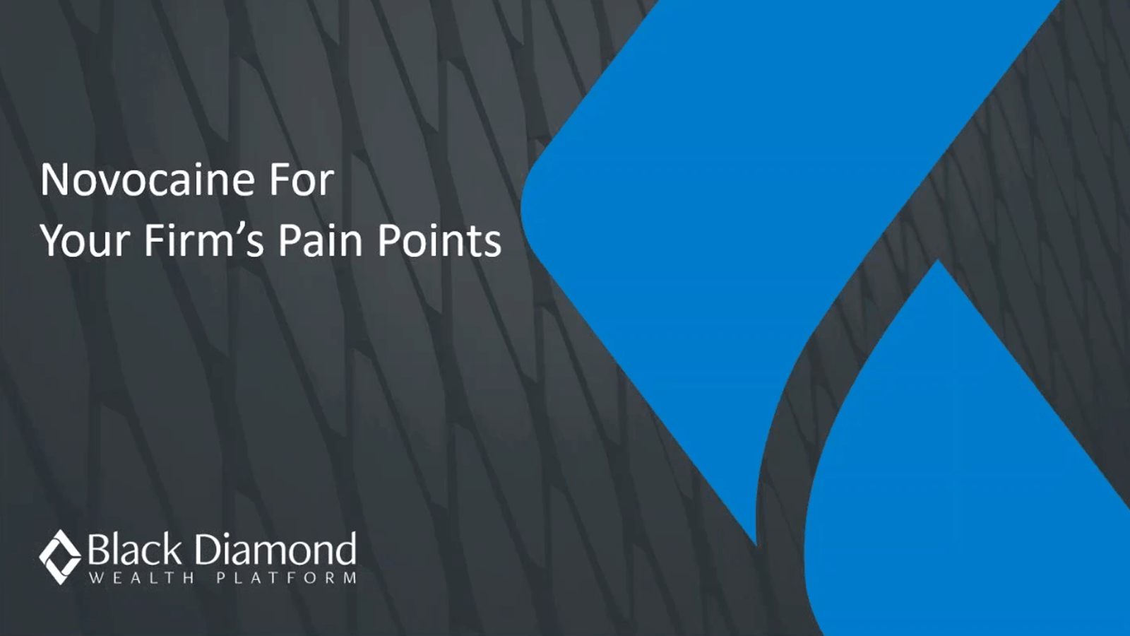 poster image for Novocain for your firm's pain points