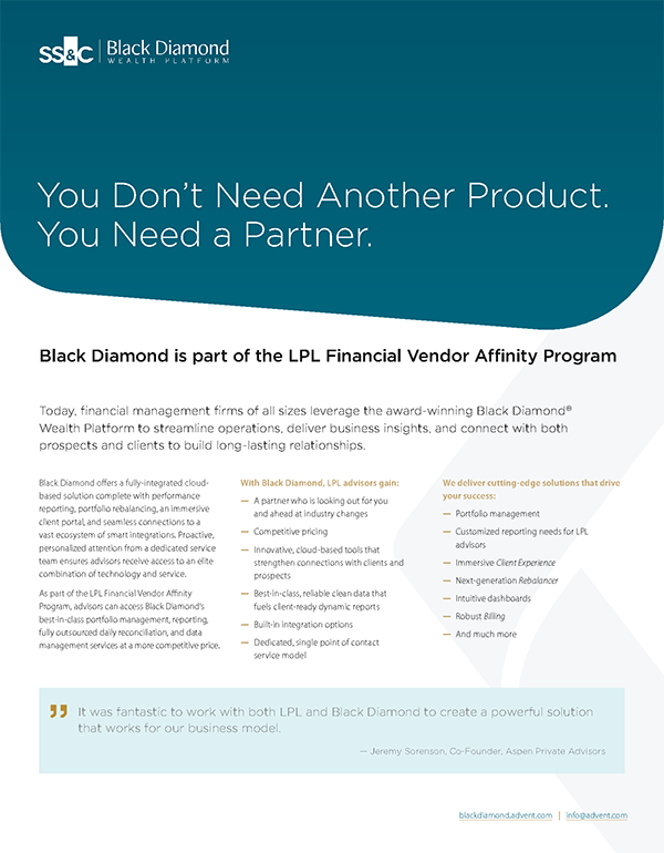 Black Diamond is Part of the LPL Financial Vendor Affinity Program